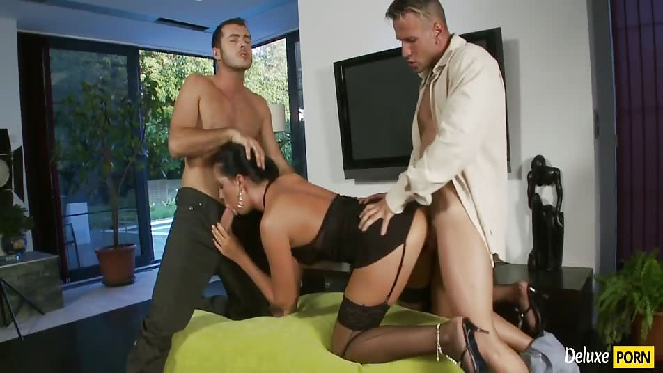 Insanely hot threesome with a pretty cock-worshiping brunette slut