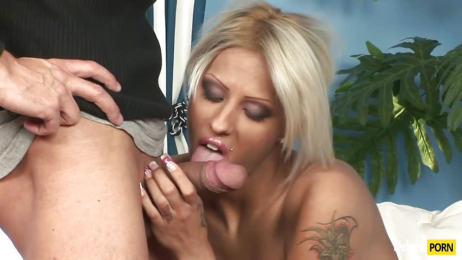 Tattooed Blonde Maid Black Diamond Nailed Doggy Style