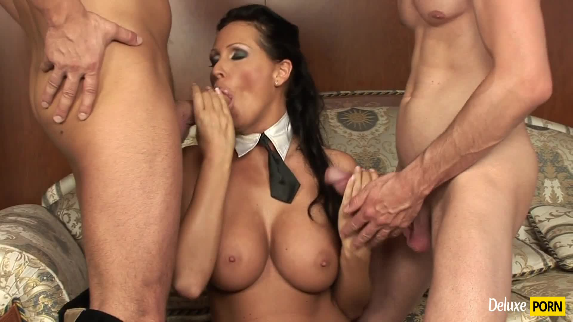 Busty Beauty Mandy Bright Gets Her Holes Rammed By Two Cocks